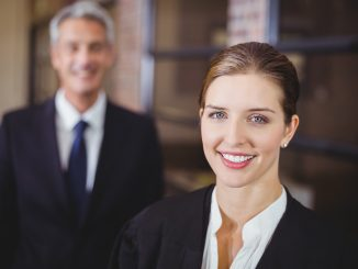 A smiling businesswoman
