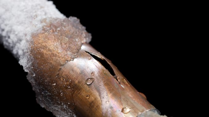 Freeze damage evident in a pipe