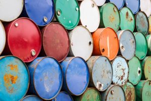 Oil barrels in different colours