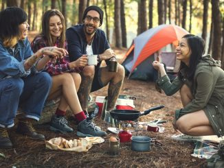 group of friends on a camping trip