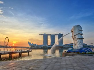 Merlion during sunrise