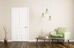 white door in a living room