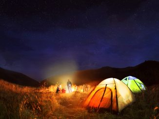 people camping at night