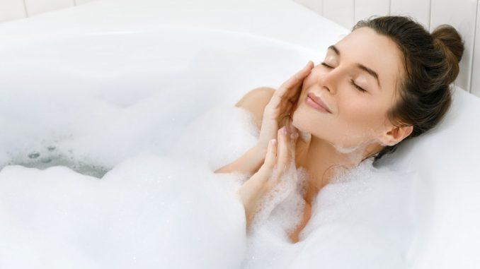 woman enjoying a hot tub