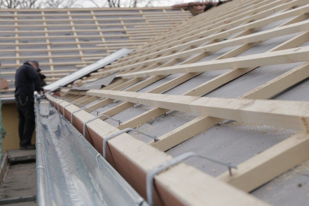 roofing guides being laid out