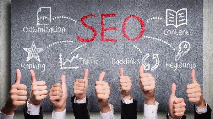 Thumbs up, SEO concept on background