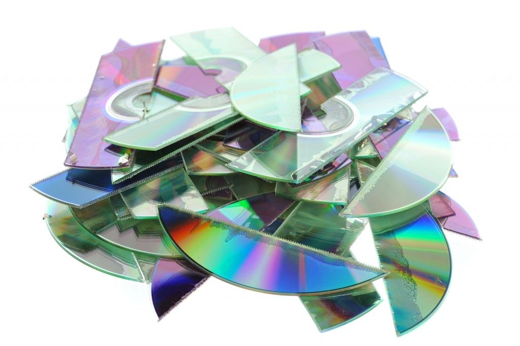 Compact disks cut to pieces for disposal