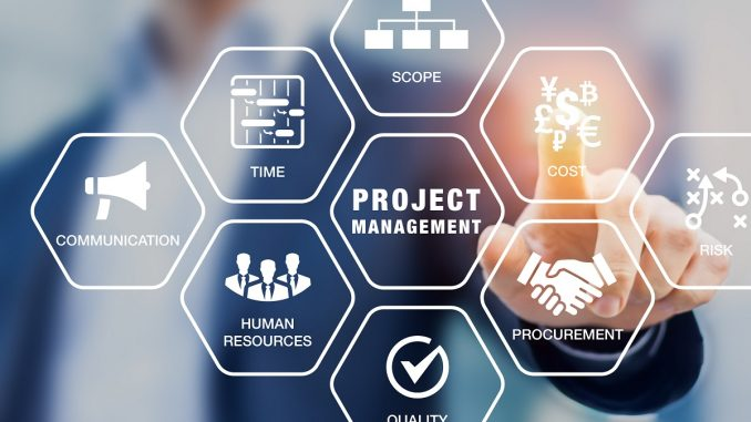 businessman pointing on an abstract icon chart of project management process