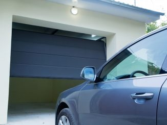 garage doors opening for a car