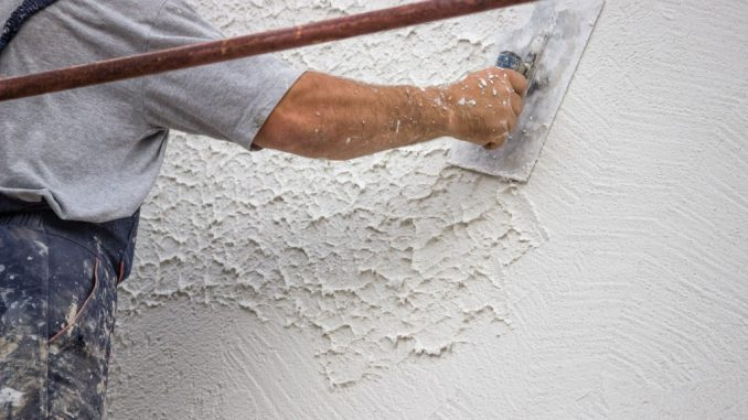 Decorative plaster applied on the surface by a steel trowel