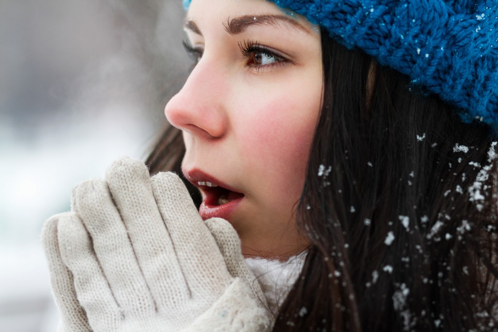 girl outside in cold winter day