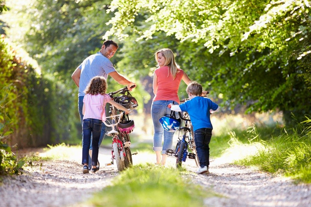 family on a cycling activity