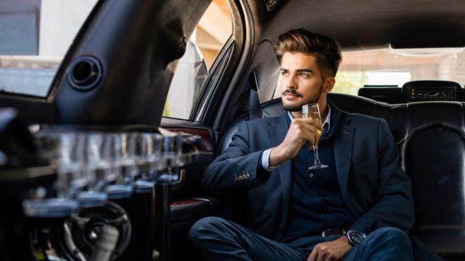 man inside a limo