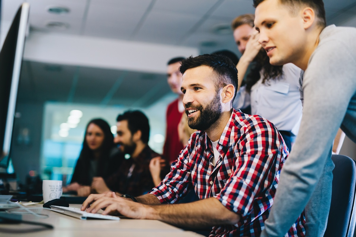employees using a desktop
