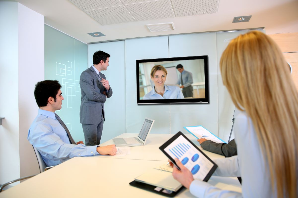 business people attending video conference